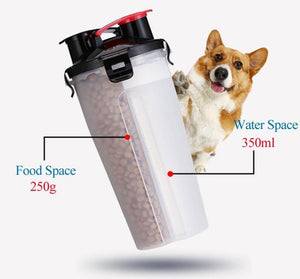 2 in 1 Bottle Pet Feeder / Water Bottle Collapsible Folding Travel Bowl