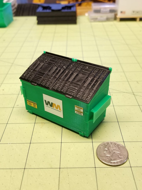 2-yard Green Trash Dumpster at 1:24 Scale