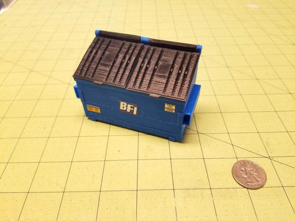 2-yard Blue Trash Dumpster at 1:24 Scale