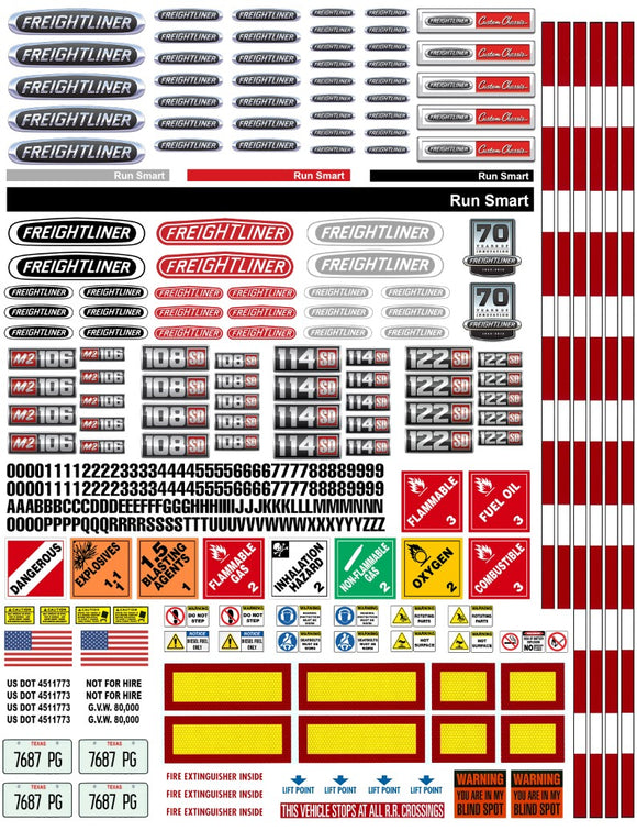 New Freightliner Semi Tractor Truck Decals for 1:12/1:14/16 Scale
