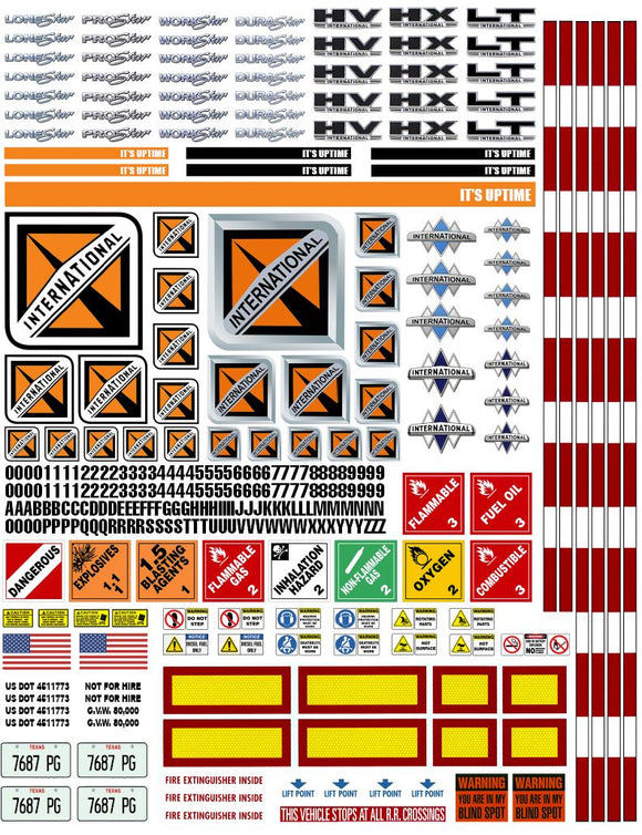New International Semi Tractor Truck Decals for 1:12/1:14/16 Scale