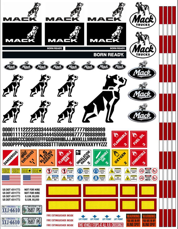 New Mack Semi Tractor Truck Decals for 1:12/1:14/16 Scale