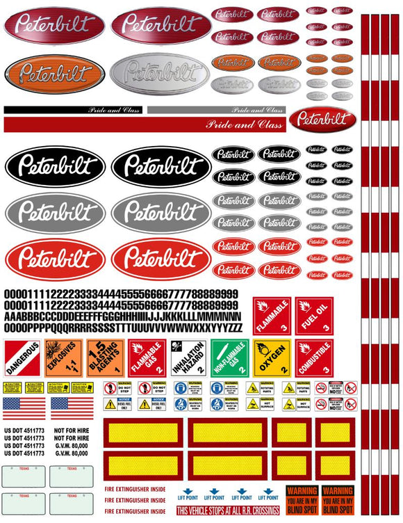 New Peterbilt Semi Tractor Truck Decals for 1:12/1:14/16 Scale
