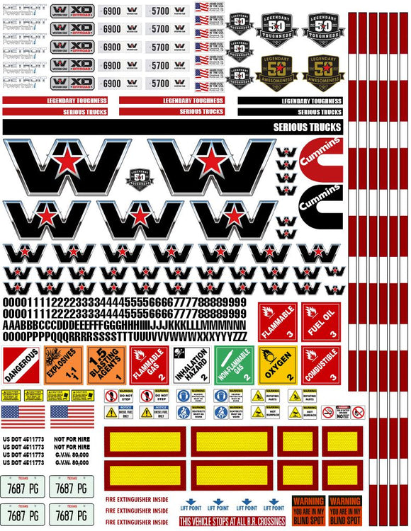 New Western Star Semi Tractor Truck Decals for 1:12/1:14/16 Scale