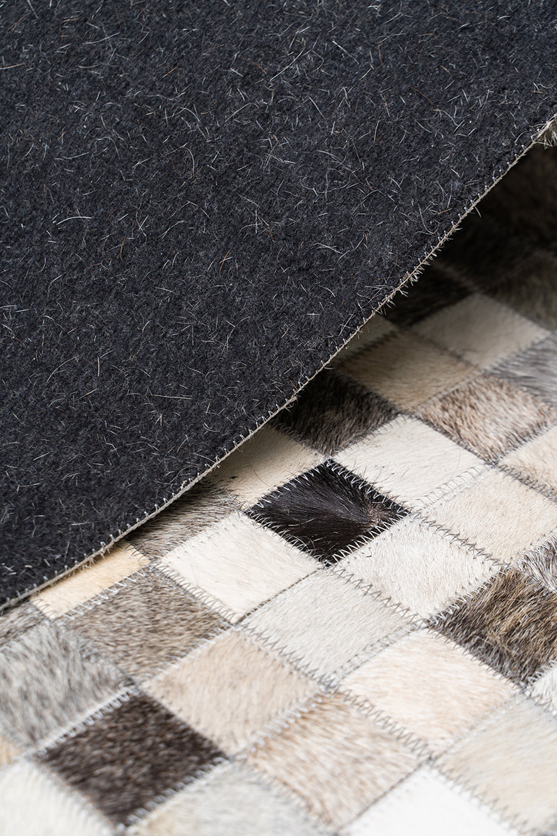 Parision Grey.Charcoal Leather Hairon Carpet