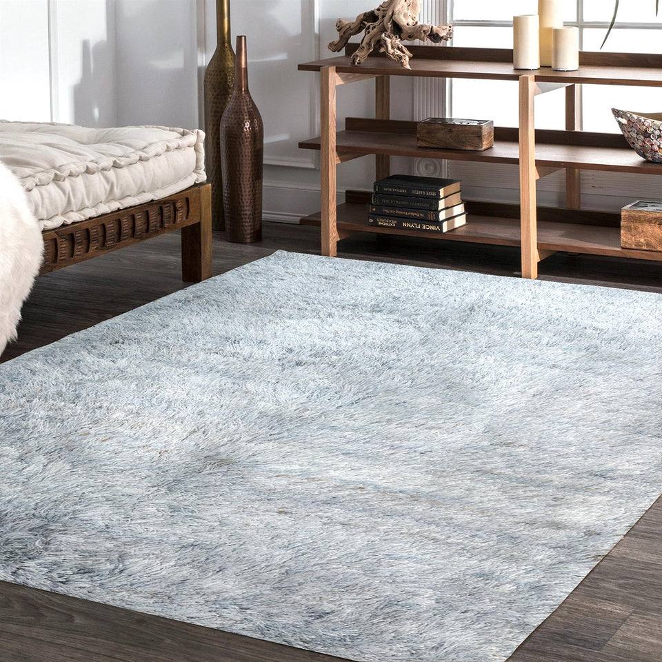 Cicero Ice Blue Table Tufted Carpet with Latex Backing