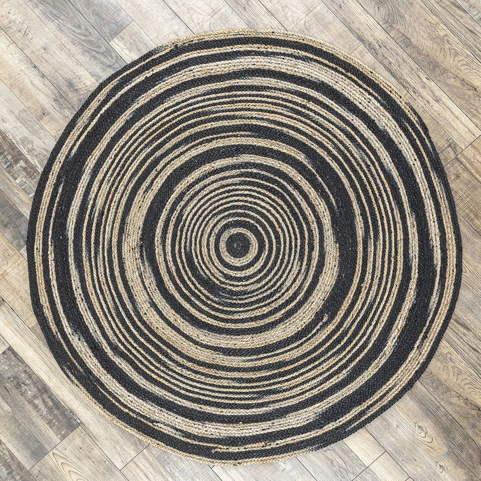 Jasmine Natural/Black Baided Rug Durrie
