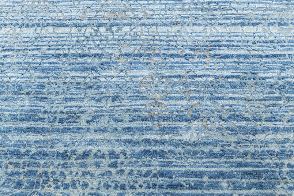 Luxury - Cirque Blue Pure Silk & Wool Hand Knotted Premium Carpet