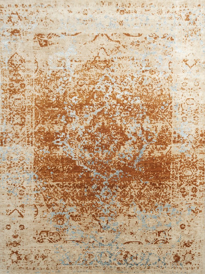 Luxury - Britta Beige Rust Pure Silk & Wool Hand Knotted Premium Carpet