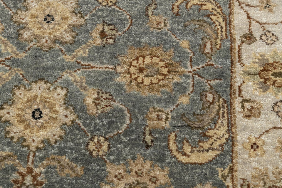 Luxury - Vanadey Sea Blue Ivory New Zealand Wool Hand Knotted Premium Carpet