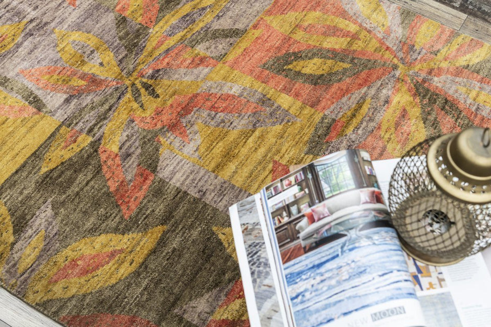 Luxury - Rize Mustard Fucia New Zealand Wool Hand Knotted Premium Carpet