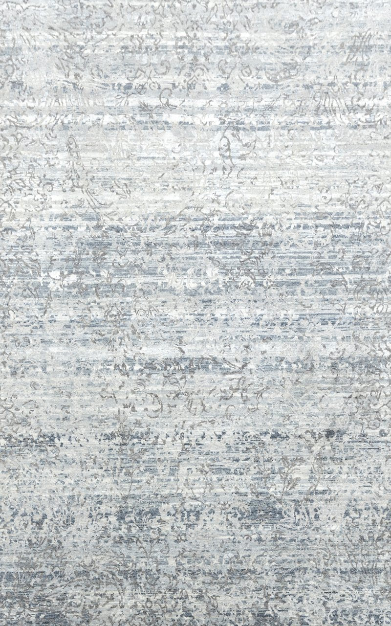 Luxury - Kairos Grey Blue Pure Silk & Wool Hand Knotted Premium Carpet