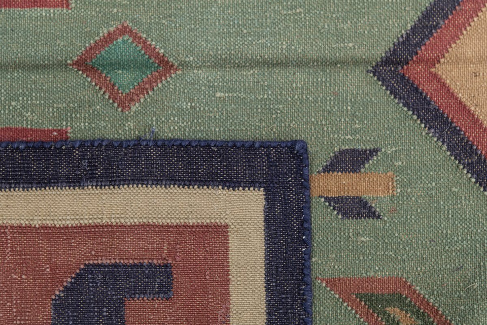 Luxury - Castillo Green Multy Cotton Hand Knotted Premium Durrie