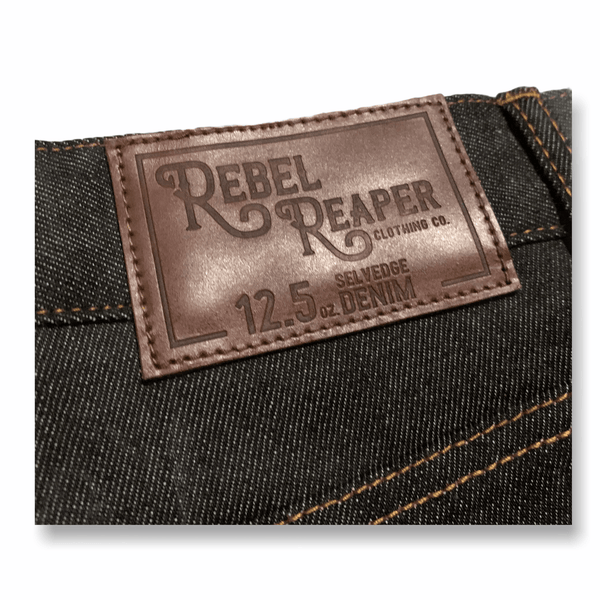 Made In USA - (Regular Fit) Selvedge 12.5oz Denim Jeans (Charcoal w/ Copper Stitching) - Rebel Reaper Clothing Company