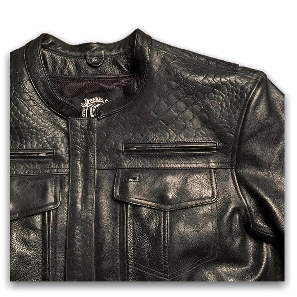 "The ""Dundee"" Crocodile Clubstyle Leather Jacket *CUSTOM* - Rebel Reaper Clothing Company"