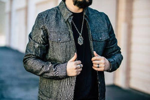 "The ""Jackson"" 16oz Selvedge Charcoal Black Denim Jacket (Relaxed Fit) - Rebel Reaper Clothing Company"