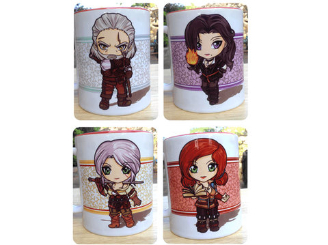 Witcher 3 Mugs (Geralt, Yennefer, Ciri, Triss)