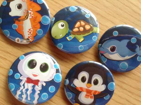 Sea Creatures Button pins