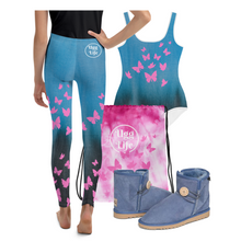 Load image into Gallery viewer, Butterfly Blue Youth Leggings