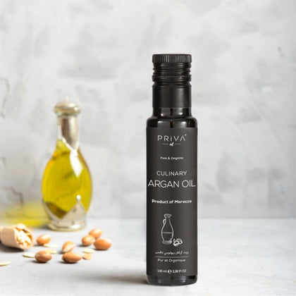 Priva Moroccan Culinary Argan Oil - For Cooking & Eating Extra Virgin, cold-pressed (3,38 fl Oz - 100 ml)