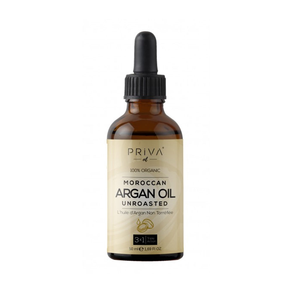Priva Organic Moroccan Argan Oil (1oz) Usda Certified 100% Pure Cold Press Virgin Premium Grade Moisturizer Treatment for Dry & Damaged Skin, Hair, Face, Body, Scalp & Nails (1,02 fl Oz - 30 ml)