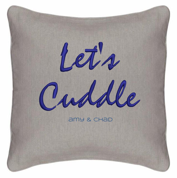 "Let's Cuddle Customizer TeeInBlue Pillow with Cushion Blue Topaz 14""x14"""