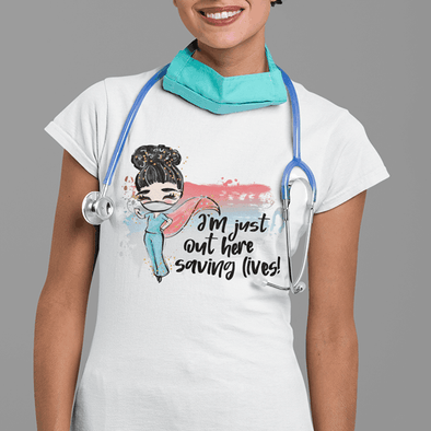 Saving Lives Ladies T-shirt Apparel TeeInBlue