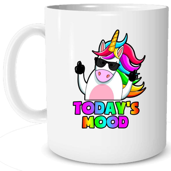 Today's Mood...Unicorn Mug Mug TeeInBlue MUG white 11oz