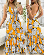 Load image into Gallery viewer, PINEAPPLE PRINT HALTER RUFFLE HEM MAXI DRESS
