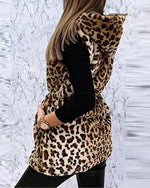 Load image into Gallery viewer, CHEETAH PRINT ZIPPER DESIGN HOODED VEST