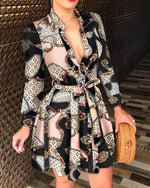 Load image into Gallery viewer, SCARF CHAIN PRINT BUTTONED-UP LONG SLEEVES CASUAL DRESS