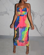 Load image into Gallery viewer, OFF SHOULDERS TIE DYE PRINT CUTOUT FRONT MAXI DRESS
