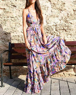 Load image into Gallery viewer, TROPICAL PRINT RUFFLES PLUNGE MAXI DRESS