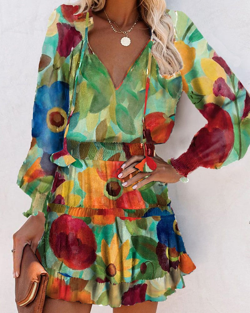FLORAL PRINT LONG SLEEVE FITTED WAIST MINI DRESS