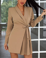 Load image into Gallery viewer, SOLID TIE DETAIL RUCHED BLAZER DRESS