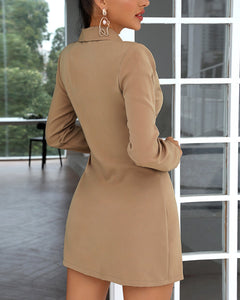 SOLID TIE DETAIL RUCHED BLAZER DRESS