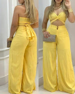Load image into Gallery viewer, OFF SHOULDER CUTOUT KNOTTED TOP & WIDE LEG PANTS SET