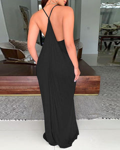 V-NECK BACKLESS MAXI DRESS