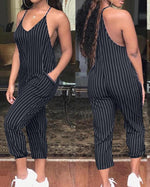 Load image into Gallery viewer, FASHION STRIPED HALTER POCKET JUMPSUIT