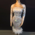 Load image into Gallery viewer, BLING FEATHETR BOTTOM EVENING DRESS