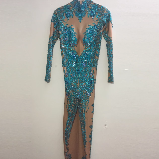 BLUE RHINESTONES BLING JUMPSUIT