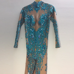Load image into Gallery viewer, BLUE RHINESTONES BLING JUMPSUIT