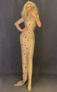 RAINBOW BLING BIRTHDAY HIGH SLIT DRESS
