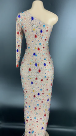 Load image into Gallery viewer, RAINBOW BLING BIRTHDAY HIGH SLIT DRESS