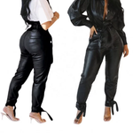 Load image into Gallery viewer, HIGH WAIST LEATHER LOOSE FITTING PANTS