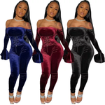 Load image into Gallery viewer, VELVET STRETCHY CORSET SEXY JUMPSUIT