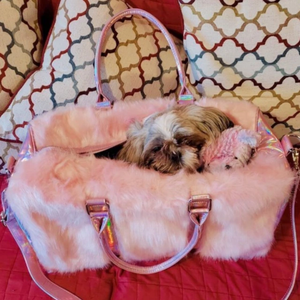 PINK FUR WEEKEND TRAVEL BAG