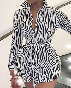 Zebra PATTERN CURVED HEM KNOT FRONT SHIRT DRESS