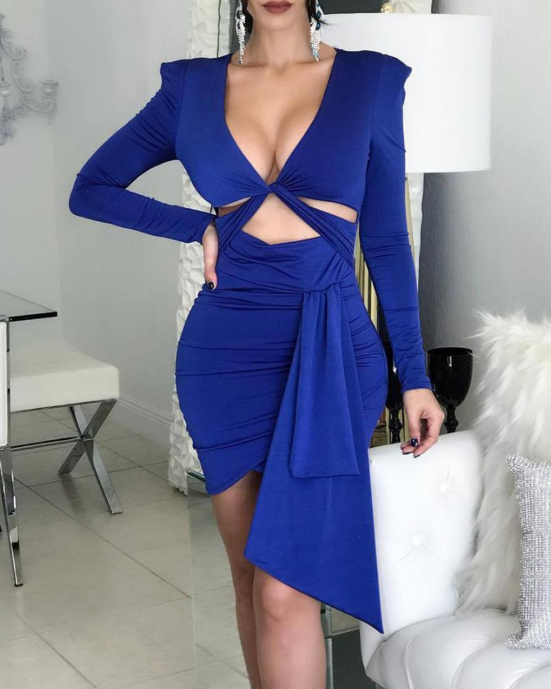 SOLID TWISTED CUT OUT DESIGN BODYCON DRESS