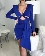 Load image into Gallery viewer, SOLID TWISTED CUT OUT DESIGN BODYCON DRESS